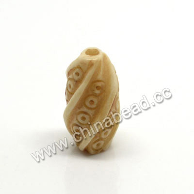 Carved Bone Beads, Ivory, Twisted, Rice, Approx 8x16mm, Hole:Approx 2mm, Sold by PCS