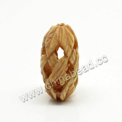 Carved Bone Beads, Ivory, Rice, Approx 9x20mm, Hole:Approx 2mm, Sold by PCS