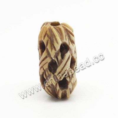 Carved Bone Beads, Antique, Weave & Leaves, Rice, Approx 10x20mm, Hole:Approx 2mm, Sold by PCS