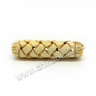 Carved Bone Beads, Antique, Large Chinese Weave Tube, Approx 10x35mm, Hole:Approx 3mm, Sold by PCS