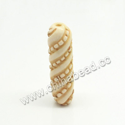 Carved Bone Beads, Antique, Large Twisted Tube, Tube, Approx 10x35mm, Hole:Approx 2mm, Sold by PCS