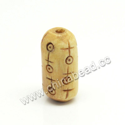 Carved Bone Beads, Ivory, Symbols, Tube, Approx 10x20mm, Hole:Approx 2mm, Sold by PCS