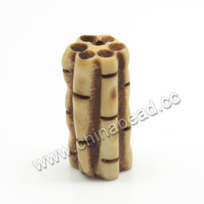 Carved Bone Beads, Antique, Bamboo, Tube, Approx 10x20mm, Hole:Approx 2mm, Sold by PCS