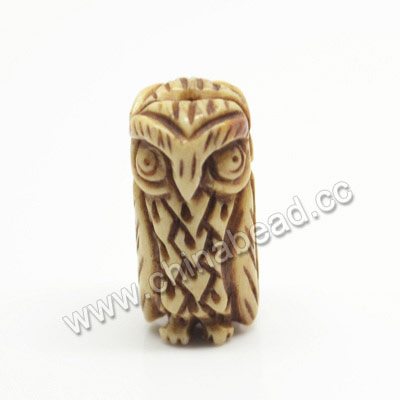 Carved Bone Beads, Antique, Owl Animal, Tube, Approx 10x20mm, Hole:Approx 2mm, Sold by PCS