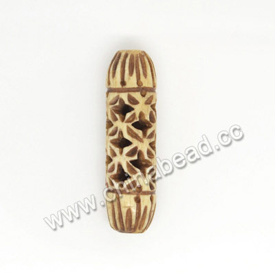 Carved Bone Beads, Antique, Flower, Tube, Approx 10x34mm, Hole:Approx 2mm, Sold by PCS