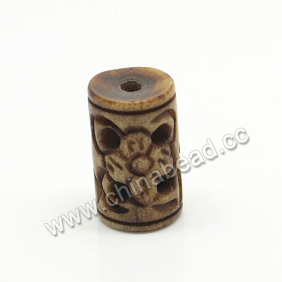 Carved Bone Beads, Antique, Flower, Tube, Approx 8x13mm, Hole:Approx 2mm, Sold by PCS