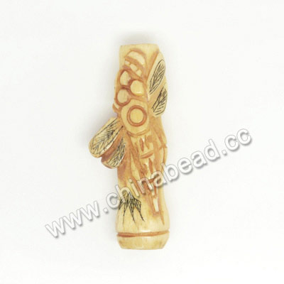 Carved Bone Beads, Antique, Dragonfly Animal Scrimshaw, Tube, Approx 34x19x10mm, Hole:Approx 2mm, Sold by PCS