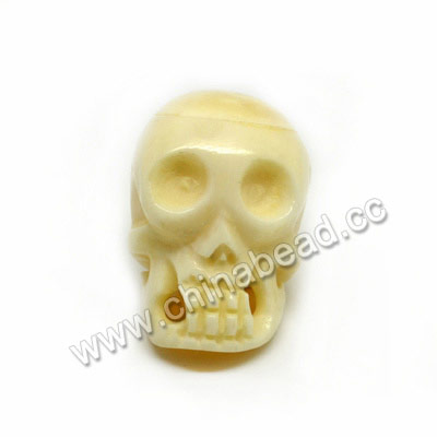 Carved Bone Skull Bead, Ivory, Skull, Approx 23x32x26mm, Hole:Approx 3mm, Sold by PCS