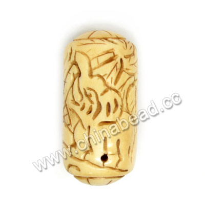 Carved Bone Pendants, Antique, Large Hole, Elephant Animal, Drum/Barrel, Approx 25x53mm, Hole: Approx 2mm, Sold by PCS