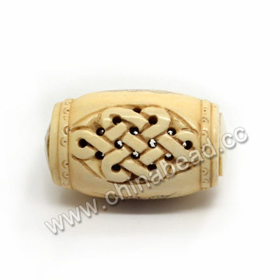 Carved Bone Beads, Antique, Chinese Weave & Flower Scrimshaw, Drum/Barrel, Approx 28x47mm, Hole: Approx 2mm, Sold by PCS