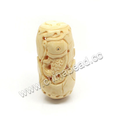 Carved Bone Beads, Ivory, Lotus Leaf & Fish Animal, Drum/Barrel, Approx 28x57mm, Hole: Approx 2mm, Sold by PCS