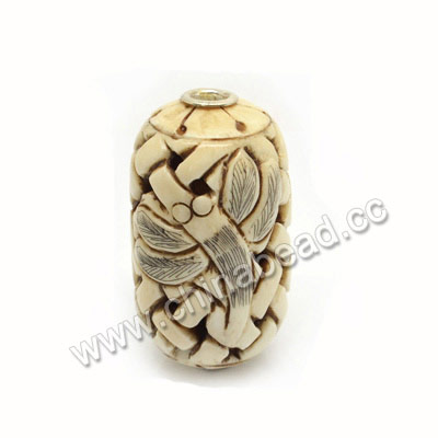 Carved Bone Beads, Antique, Chinese Weave & Dragonfly Animal Scrimshaw, Drum/Barrel, Approx 44x25mm, Hole: Approx 5mm, Sold by PCS