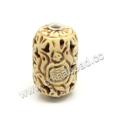 Carved Bone Beads, Antique, Leave & Turtle/tortoise Animal Scrimshaw, Drum/Barrel, Approx 24x43mm, Hole: Approx 5mm, Sold by PCS