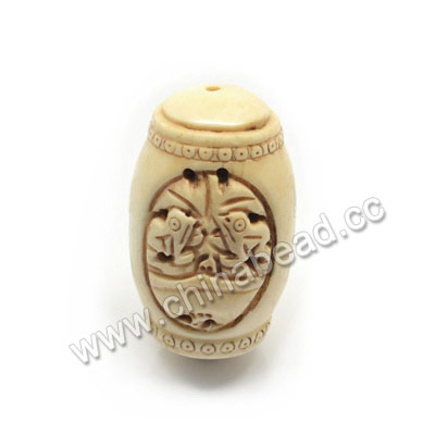 Carved Bone Pendants, Antique, Flower & Double Frogs Animal Scrimshaw, Drum/Barrel, Approx 30x50mm, Hole: Approx 2mm, Sold by PCS
