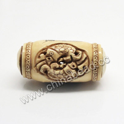 Carved Bone Pendants, Antique, Flower & Double Fishes Animal Scrimshaw, Drum/Barrel, Approx 29x50mm, Hole: Approx 2mm, Sold by PCS