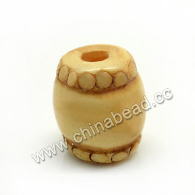 Carved Bone Beads, Ivory, Drum/Barrel, Approx 10x11mm, Hole: Approx 3mm, Sold by PCS