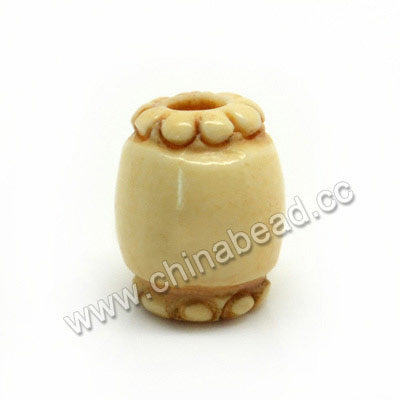 Carved Bone Beads, Ivory, Drum/Barrel, Approx 8x10mm, Hole: Approx 3mm, Sold by PCS