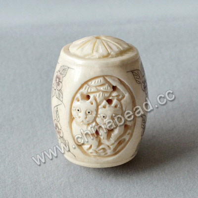 Carved Bone Beads, White, Flower & Cat Animal Scrimshaw, Drum/Barrel, Approx 25x37mm, Hole: Approx 2mm, Sold by PCS