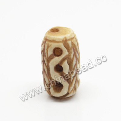Carved Bone Beads, Antique, Drum/Barrel, Approx 9x15mm, Hole: Approx 2mm, Sold by PCS