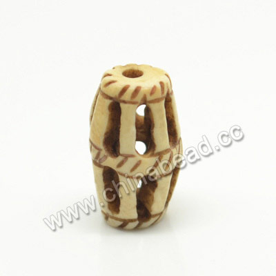 Carved Bone Beads, Antique, Drum/Barrel, Approx 9x16mm, Hole: Approx 2mm, Sold by PCS