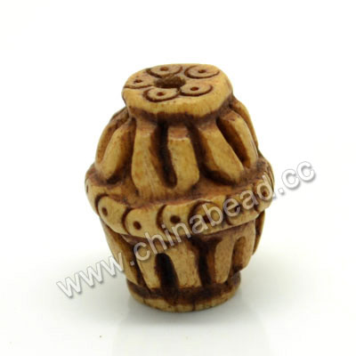 Carved Bone Beads, Antique, Leaves, Drum/Barrel, Approx 12x15mm, Hole: Approx 2mm, Sold by PCS