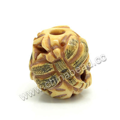 Carved Bone Beads, Antique, Flower & Dragonfly Animal, Drum/Barrel, Approx 16x17x15mm, Hole: Approx 4mm, Sold by PCS