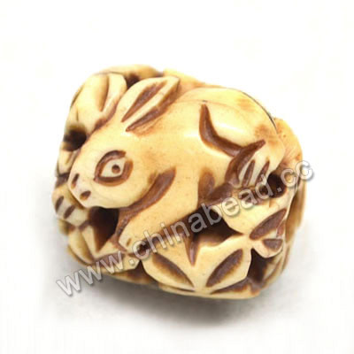 Carved Bone Beads, Antique, Flower & Rabbit Animal, Drum/Barrel, Approx 15x17x16mm, Hole: Approx 4mm, Sold by PCS