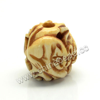 Carved Bone Beads, Antique, Flower & Cat Animal, Drum/Barrel, Approx 17x16x17mm, Hole: Approx 4mm, Sold by PCS