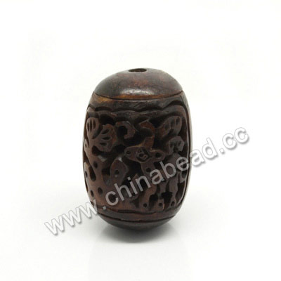 Carved Bone Beads, Brown, Deer Animal, Drum/Barrel, Approx 22x27mm, Hole: Approx 3mm, Sold by PCS