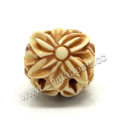 Carved Bone Beads, Antique, Flower & Leaves, Drum/Barrel, Approx 17x16x17mm, Hole: Approx 4mm, Sold by PCS
