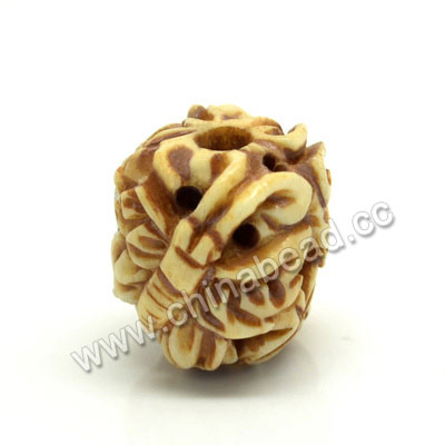 Carved Bone Beads, Antique, Flower & Butterfly Animal, Drum/Barrel, Approx 17x16x18mm, Hole: Approx 4mm, Sold by PCS