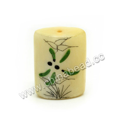 Carved Bone Beads, Ivory, Flower & Dragonfly Animal Scrimshaw, Rectangle, Approx 25x18x8mm, Hole:Approx 2mm, Sold by PCS