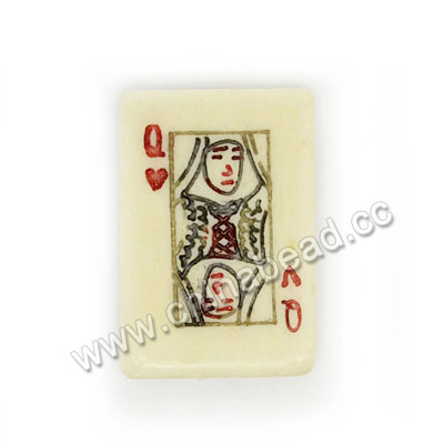"Carved Bone Beads, Ivory, ""Queen""Poker, Rectangle, Approx 25x17x5mm, Hole:Approx 2mm, Sold by PCS"