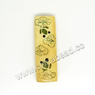 Carved Bone Beads, Ivory, Lotus Leaf & Frog Animal Scrimshaw, Rectangle, Approx 40x14x7mm, Hole:Approx 2mm, Sold by PCS
