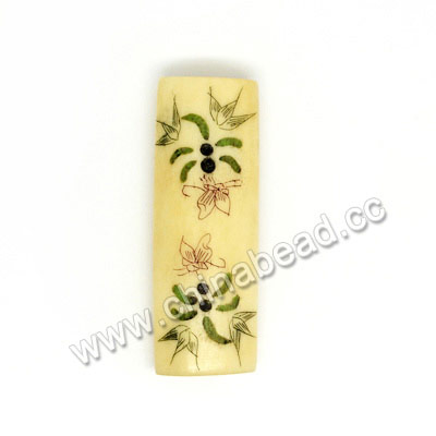 Carved Bone Beads, Ivory, Dragonfly, Bamboo & Butterfly Animal Scrimshaw, Rectangle, Approx 40x14x8mm, Hole:Approx 2mm, Sold by PCS