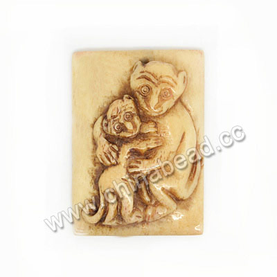 Carved Bone Pendants, Antique, Monkey & Baby Monkey Animal, Rectangle, Approx 39x28x9mm, Hole:Approx 2mm, Sold by PC