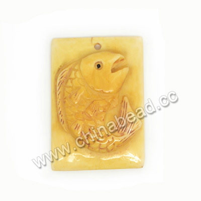 Carved Bone Pendants, Ivory, Fish Animal, Rectangle, Approx 38x27x8mm, Hole:Approx 2mm, Sold by PCS