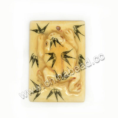 Carved Bone Pendants, Ivory, Frog Animal Scrimshaw, Rectangle, Approx 39x27x8mm, Hole:Approx 2mm, Sold by PCS