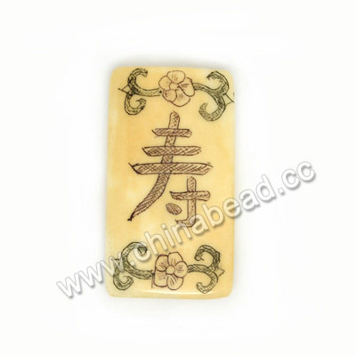 Carved Bone Beads, Ivory, Flower & Longevity Chinese Symbol Scrimshaw, Rectangle, Approx 32x17x5mm, Hole:Approx 2mm, Sold by PCS