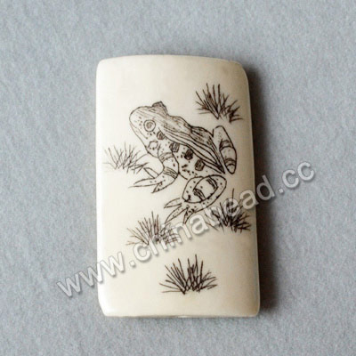 Carved Bone Beads, White, Frog & Bird Animal Scrimshaw, Rectangle, Approx 40x24x6mm, Hole:Approx 2mm, Sold by PCS