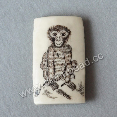 Carved Bone Pendants, White, Monkey Animal, Pine & Hill Scrimshaw, Rectangle, Approx 40x24x6mm, Hole:Approx 2mm, Sold by PCS