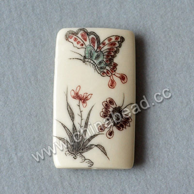 Carved Bone Pendants, White, Butterfly, Flower & Bamboo Scrimshaw, Rectangle, Approx 40x23x6mm, Hole:Approx 2mm, Sold by PCS