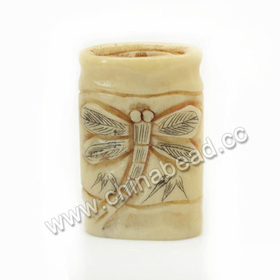 Carved Bone Beads, Antique, Dragonfly Animal Scrimshaw, Rectangle, Approx 31x19x7mm, Hole:Approx 2mm, Sold by PCS