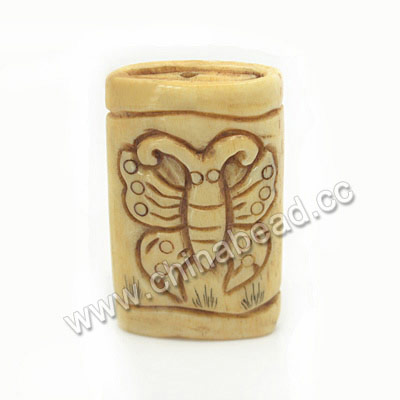 Carved Bone Beads, Antique, Butterfly Animal Scrimshaw, Rectangle, Approx 30x18x8mm, Hole:Approx 2mm, Sold by PCS