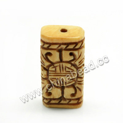 Carved Bone Beads, Antique, Longevity Chinese Symbol, Rectangle, Approx 23x12x6mm, Hole:Approx 2mm, Sold by PCS