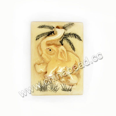 Carved Bone Pendants, Ivory, Elephant Animal Scrimshaw, Rectangle, Approx 38x27x8mm, Hole:Approx 2mm, Sold by PCS