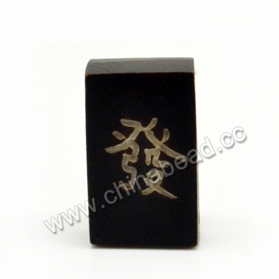 Carved Bone Beads, Black, Mahjong, Rich, Rectangle, Approx 22x12x7mm, Double Hole:Approx 2mm, Sold by PCS