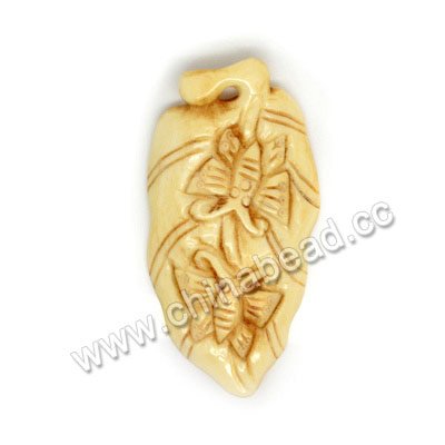 Carved Bone Pendants, Ivory, Butterfly Animal, Leaf, Approx 65x36x6mm, Hole: Approx 2mm, Sold by PCS