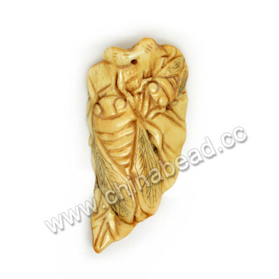 Carved Bone Pendants, Antique, Cicada Animal, Leaf, Approx 68x36xx7mm, Hole: Approx 2mm, Sold by PCS