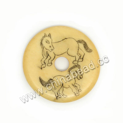 Carved Bone Pendants, Ivory, Two Running Horses Animal Scrimshaw, Donut, Approx 30x3mm, Hole: Approx 6mm, Sold by PCS